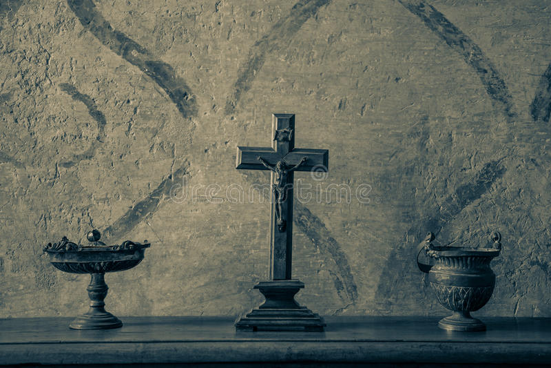 Crucifix antigo imagem de stock