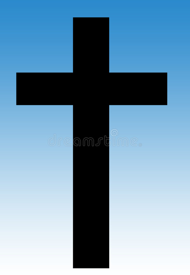 Crucifix in blue sky royalty free illustration