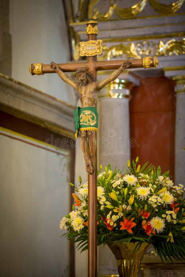 Crucifix in church. Crucifix on altar of a church stock photos