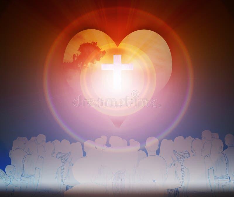 Crucifix et lumière avec l'ombre de personnes images stock
