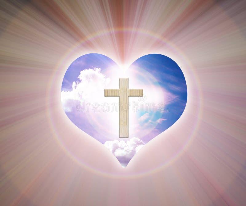 Crucifix et lumière sur le fond de coeur image libre de droits