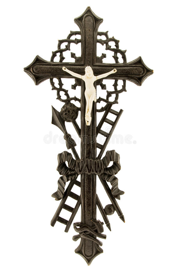 Crucifix. With figure of Jesus on white background, wooden, vertical royalty free stock photo