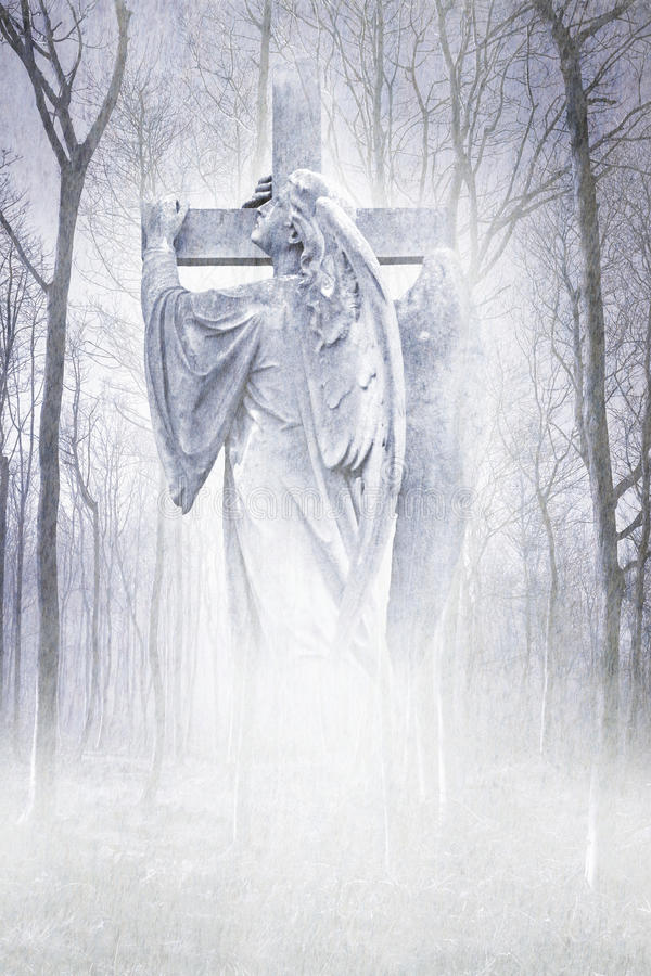 Crucifix Forest Angel. Angelic male figure carrying a cross materialising in an atmospheric misty forest rendered in soft lilac tones stock image