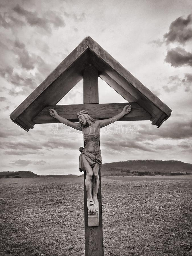 Crucifix Grayscale Photo stock photos
