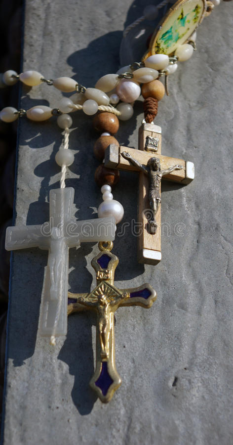 Crucifix And Rosary. Stock Photos