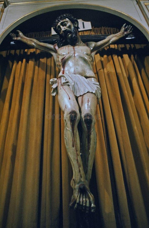 Crucifix in Santa Clara Mission, CA stock image