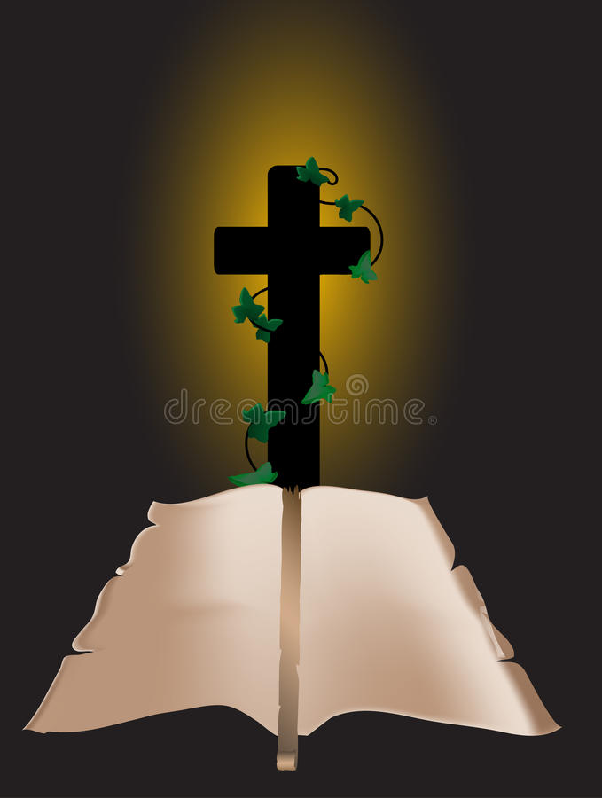 Download Crucifix and scroll stock vector. Image of leaf, cross - 10664944