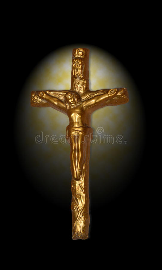 Crucifix with spot lighting. Cool image of the Crucifix with Spot Lighting royalty free stock images