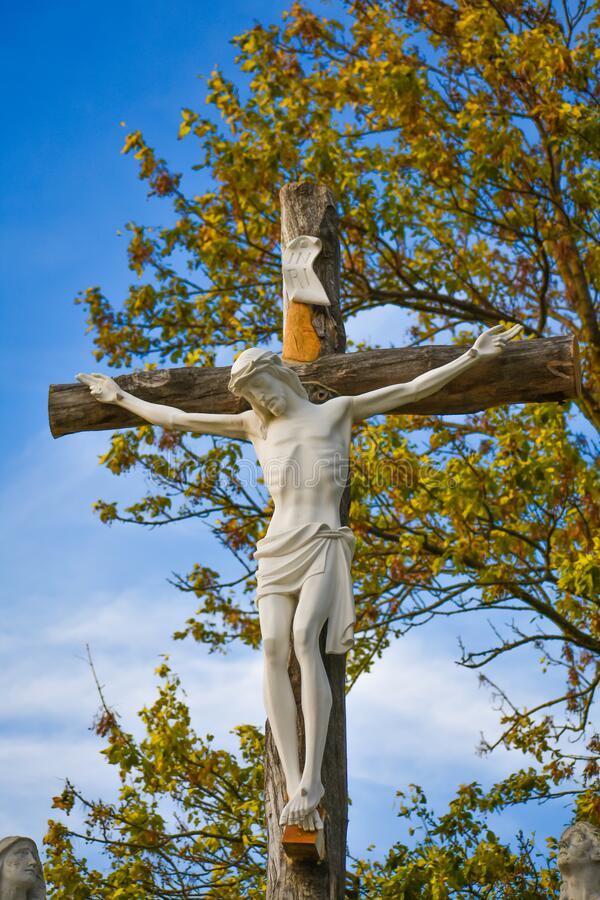 Crucifix Statue, Jesus Hanging on Cross royalty free stock photo