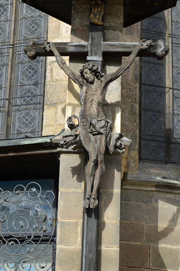 Crucifix Statue on St Bartholomew Cathedral Náměstí Republiky Plzen Republic Square, Pilsen Czech Republic. Crucifix Statue St Bartholomew Cathedral N stock photography