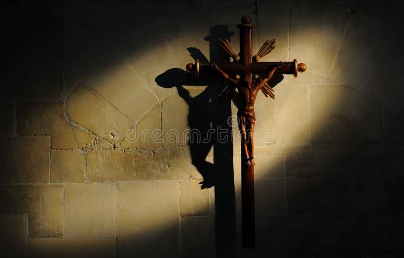 Crucifix On Stone Wall Royalty Free Stock Image