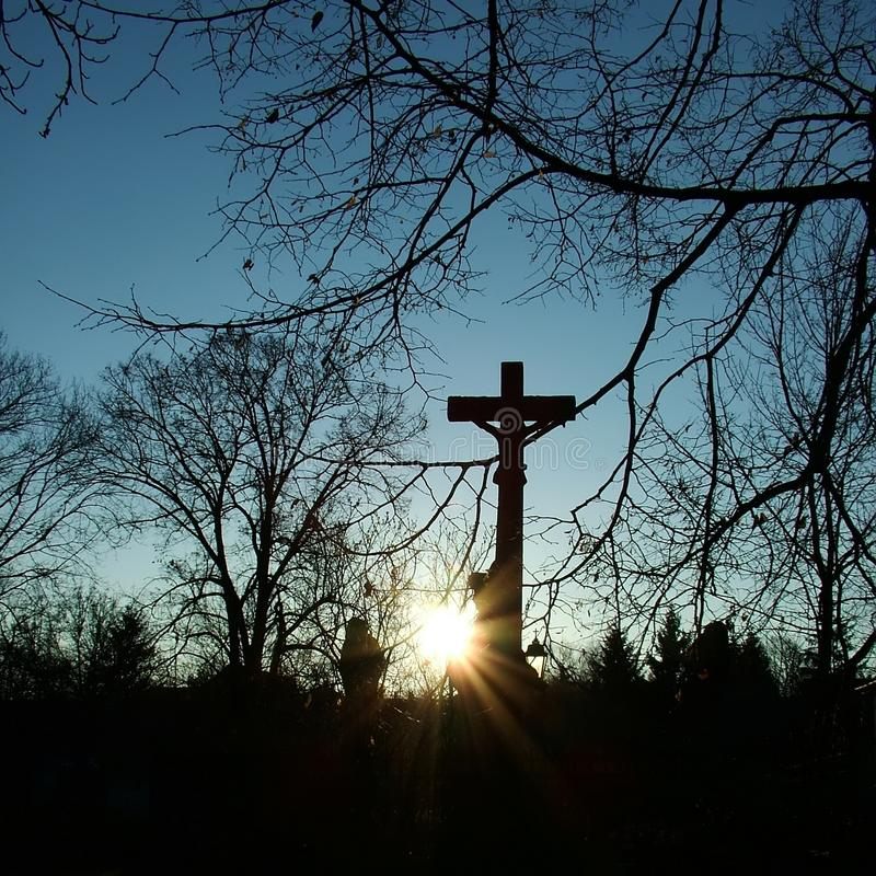 Crucifix in the sunset. Between the trees in winter stock image