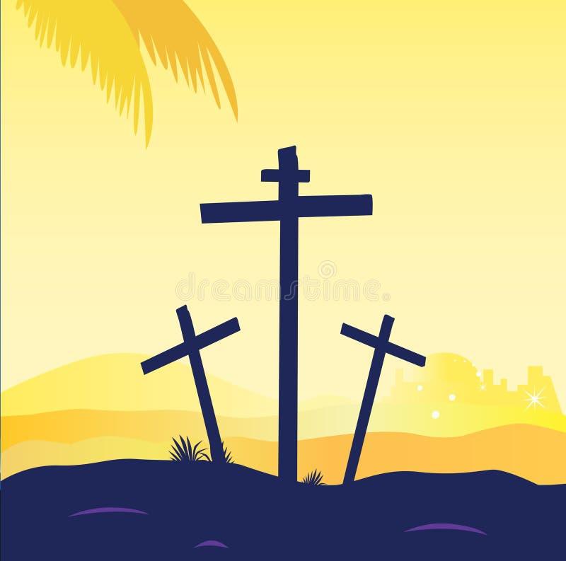 Crucifixión de Jesús - escena del calvary con la cruz tres ilustración del vector