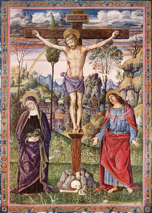 Crucifixión de Jesús - Virgen María y San Juan Evangelista - impresión de la litografía fotografía de archivo