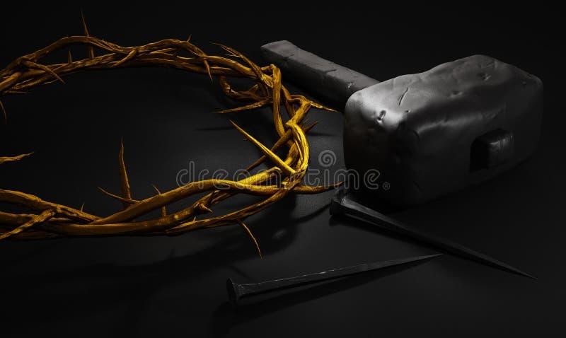Crucifixión de Jesus Christ - cruz con los clavos y el oro C del martillo stock de ilustración