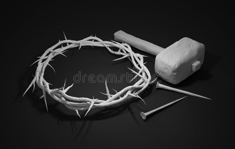 Crucifixión de Jesus Christ - cruz con los clavos y la corona del martillo stock de ilustración