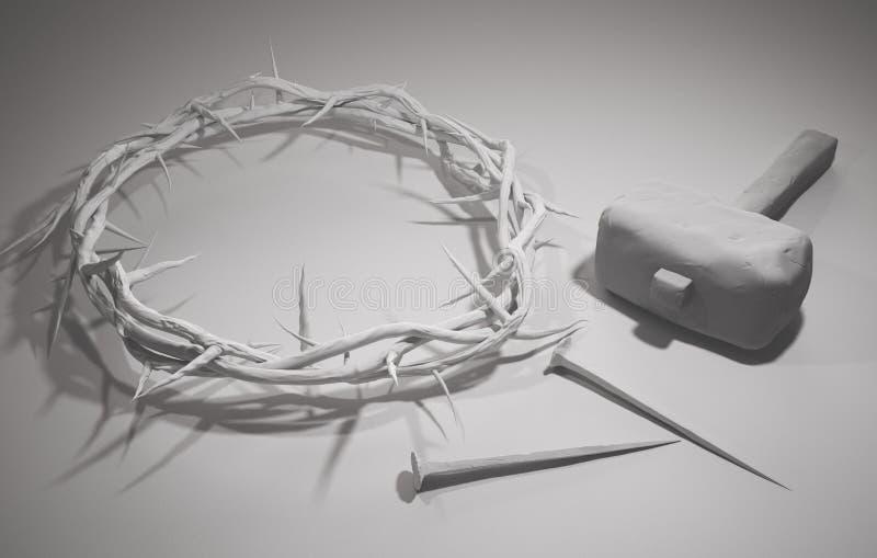 Crucifixión de Jesus Christ - cruz con los clavos y la corona del martillo libre illustration