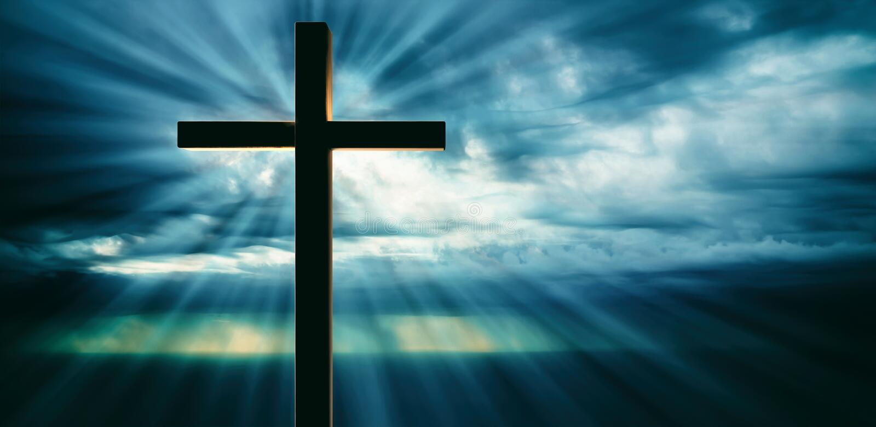 Crucifixión de Jesus Christ, cruz de madera, cielo en el fondo de la puesta del sol ilustración 3D stock de ilustración