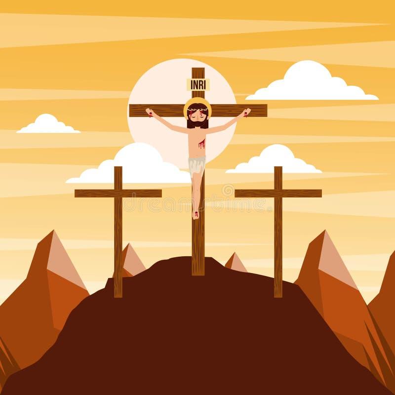 Crucifixión del Jesucristo tres cruces en la puesta del sol libre illustration