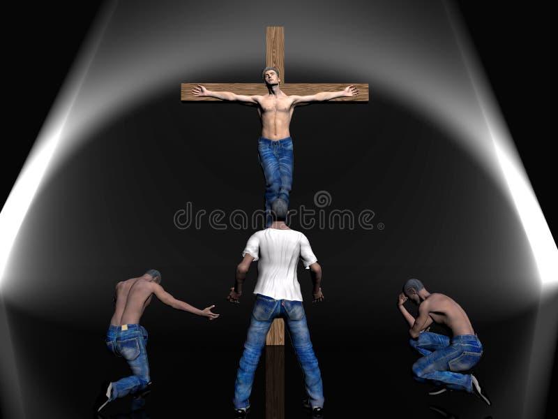 Crucifixión, pascua, fe. ilustración del vector