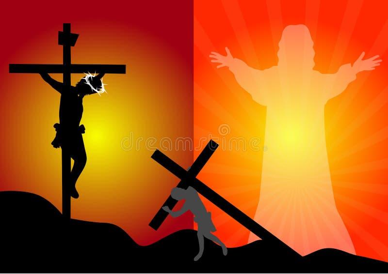 Crucifixión y resurrección de Jesus Christ stock de ilustración