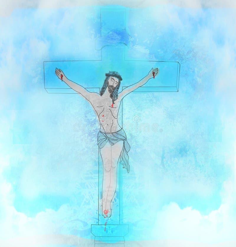 Crucifixión y resurrección de Jesus Christ en la cruz ilustración del vector