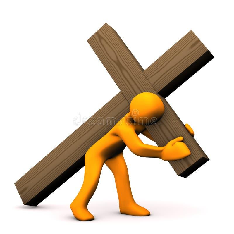 Crucifixion. Orange cartoon with wooden croos on white background stock illustration