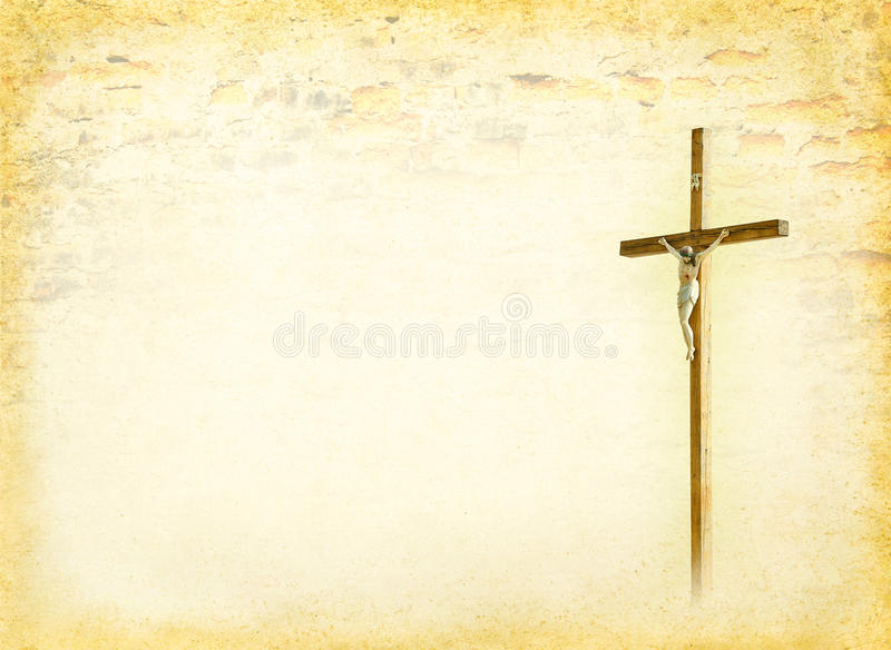 Biblical page. Crucifixion - Jesus Christ on the cross. Christian god at the old paper background - ancient postcard in religions style. Biblical books page with stock photo