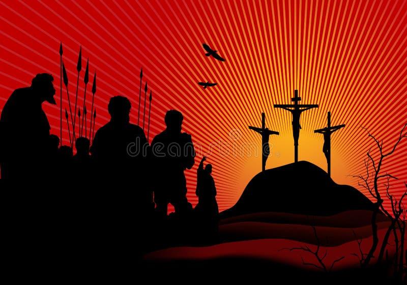 crucifixion vektor illustrationer
