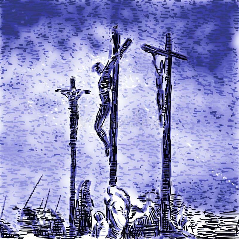 Crucifixion royalty free illustration