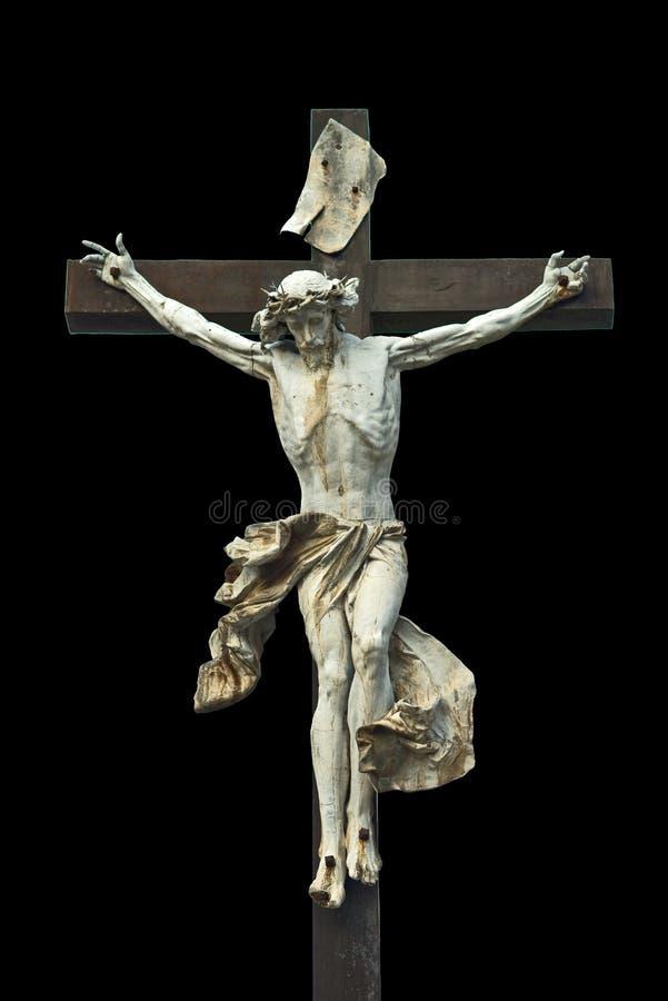 crucifixion Christliches Kreuz mit Jesus Christ Statue lokalisiertes O stockbild