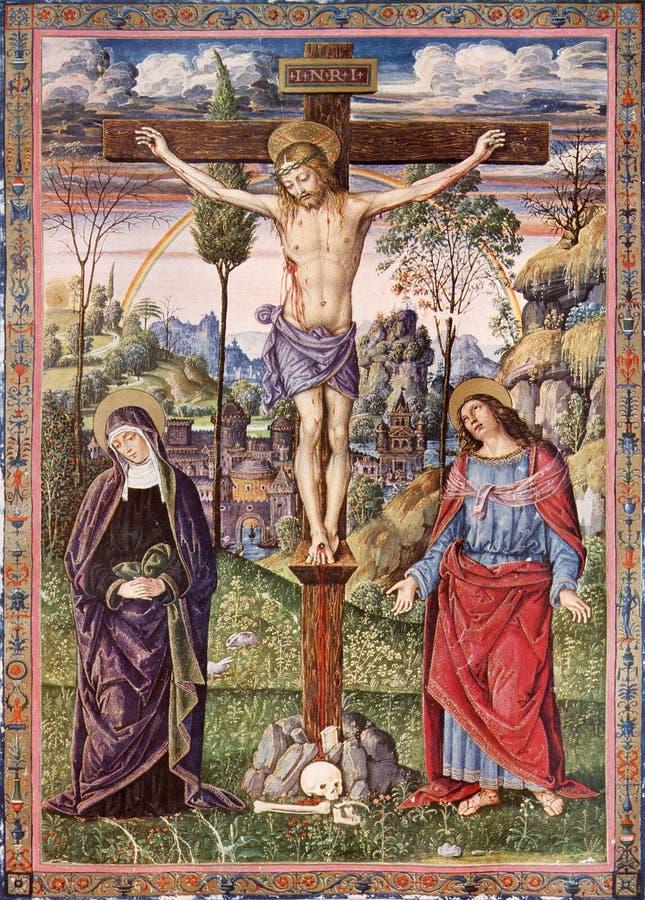 Crucifixion de Jésus - Vierge Marie et St John l'évangéliste - impression de lithographie photographie stock