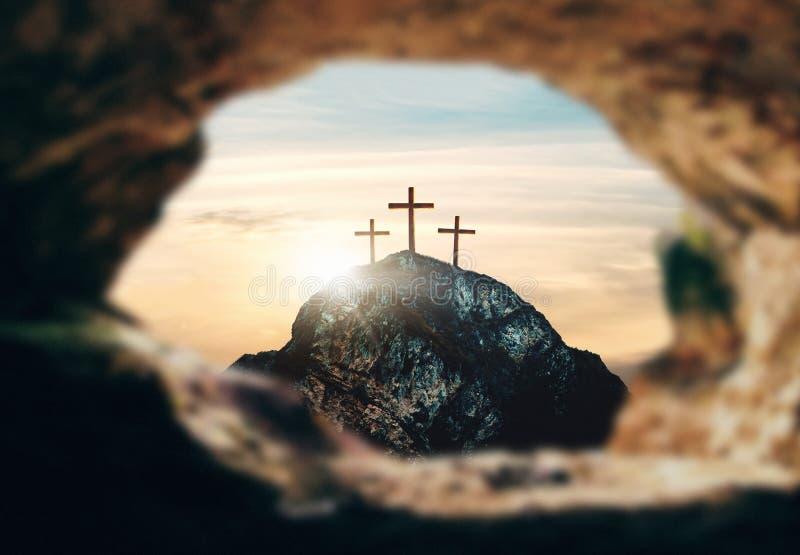 Crucifixion de Jesus Christ, trois croix sur la colline, rendu 3d illustration stock