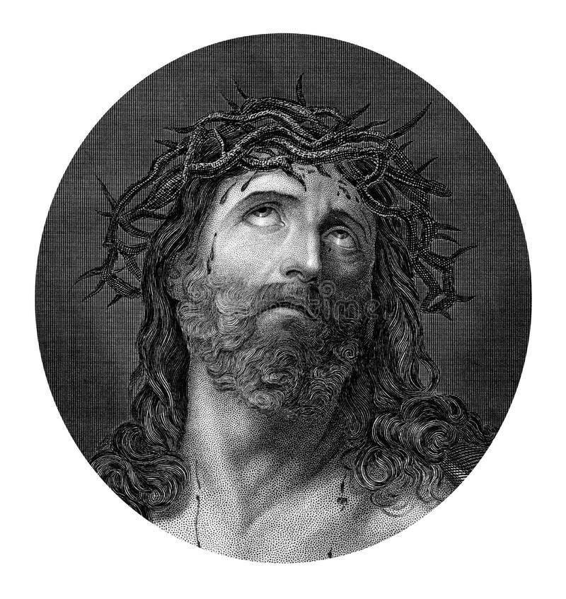 Crucifixion de Jesus Christ utilisant la couronne des épines illustration de vecteur