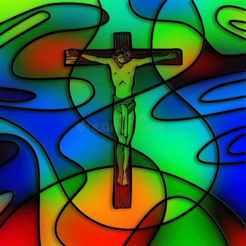 Crucifixion en verre souillé illustration stock