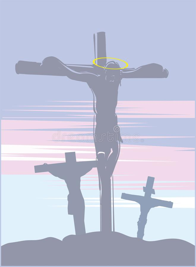 crucifixion jesus royaltyfri illustrationer