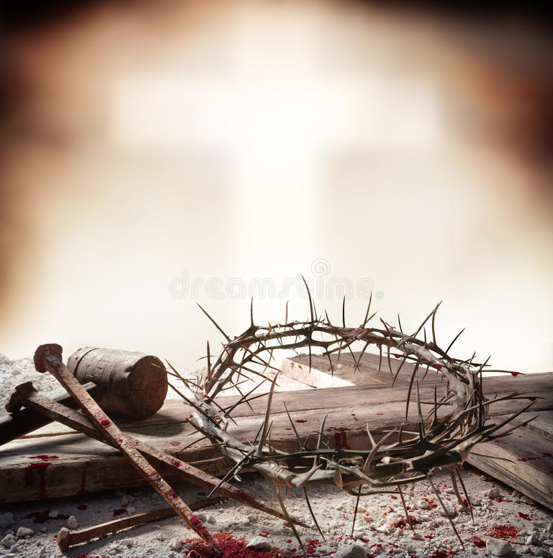 Crucifixion Of Jesus Christ - Cross With Hammer Bloody Nails And Crown royalty free stock photography