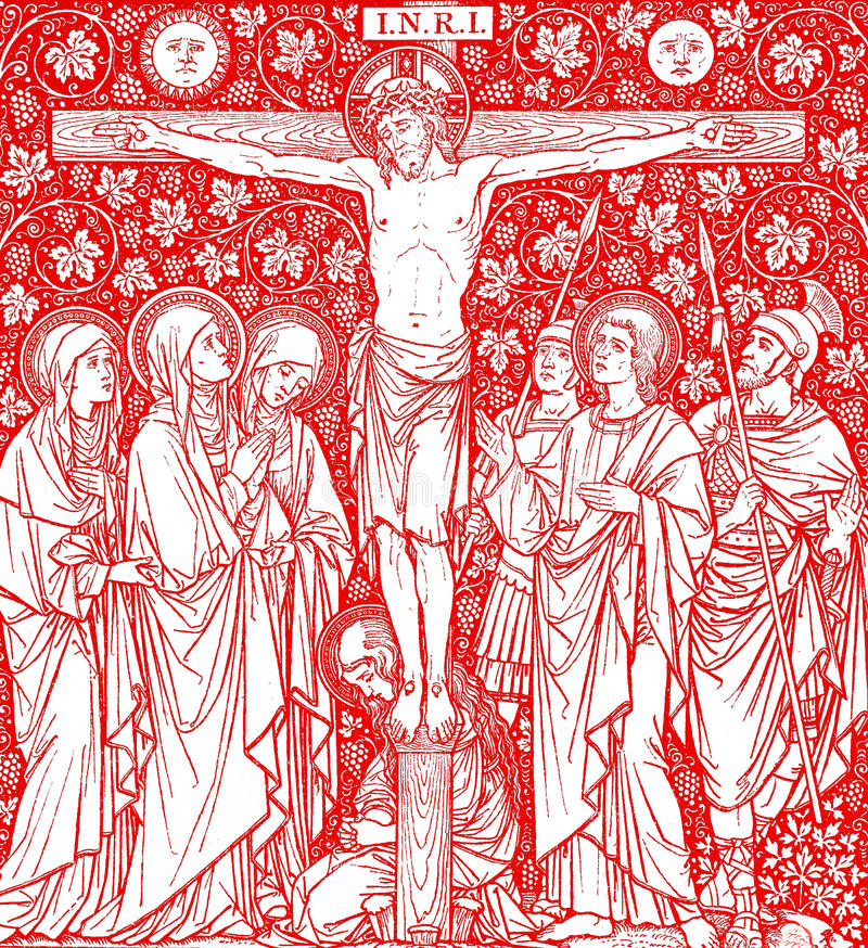 Download Crucifixion Of Jesus Christ In Red Stock Illustration - Illustration: 13127745