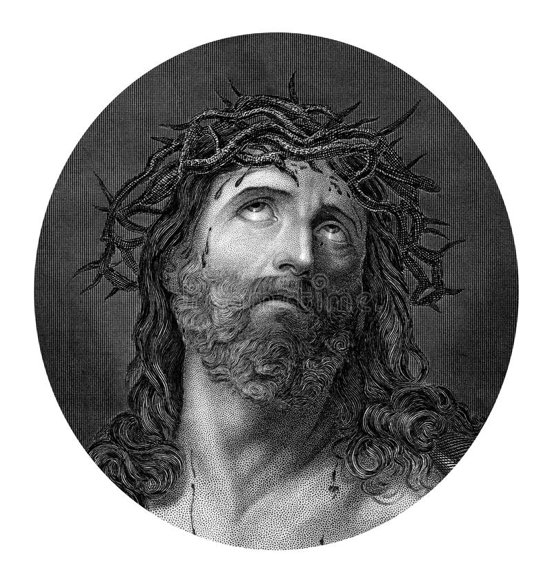 Crucifixion of Jesus Christ wearing the crown of thorns. An engraved illustration drawing portrait of the Crucifixion of Jesus Christ wearing the crown of thorns vector illustration