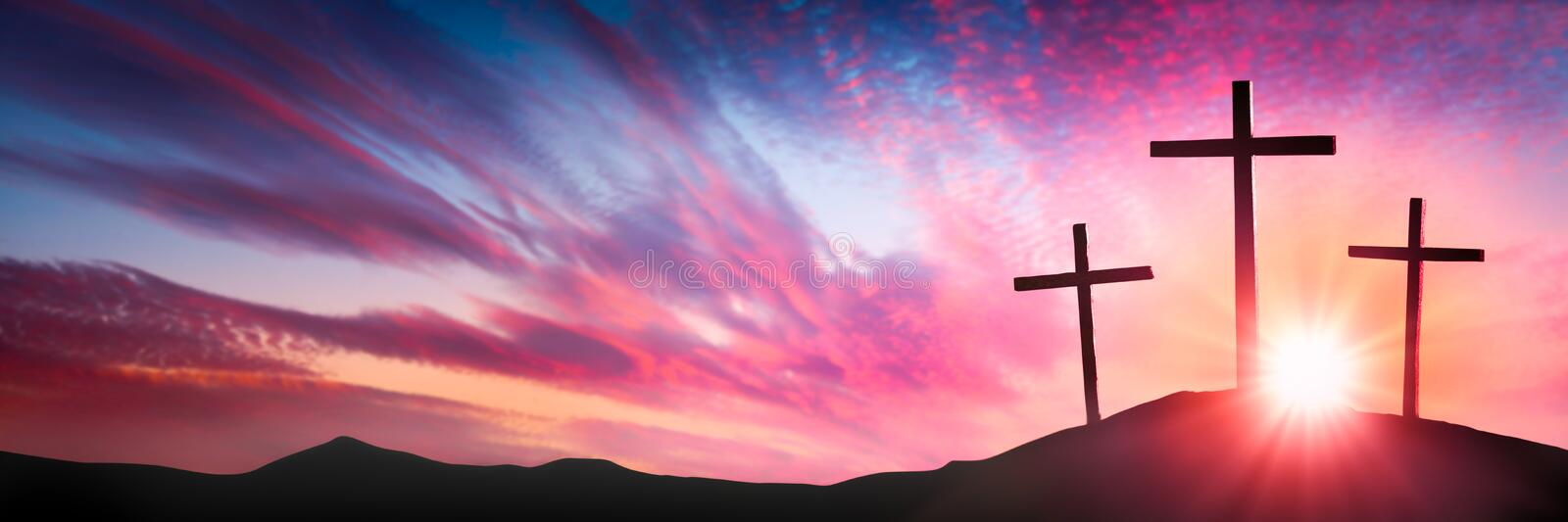 Crucifixion and Resurrection. Three Wooden Crosses On Calvary`s Hill At Sunrise - Crucifixion And Resurrection Of Jesus Christ Concept royalty free stock photo