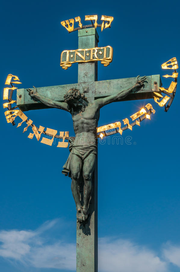 Crucifixion Statue At Charles Bridge Stock Photo