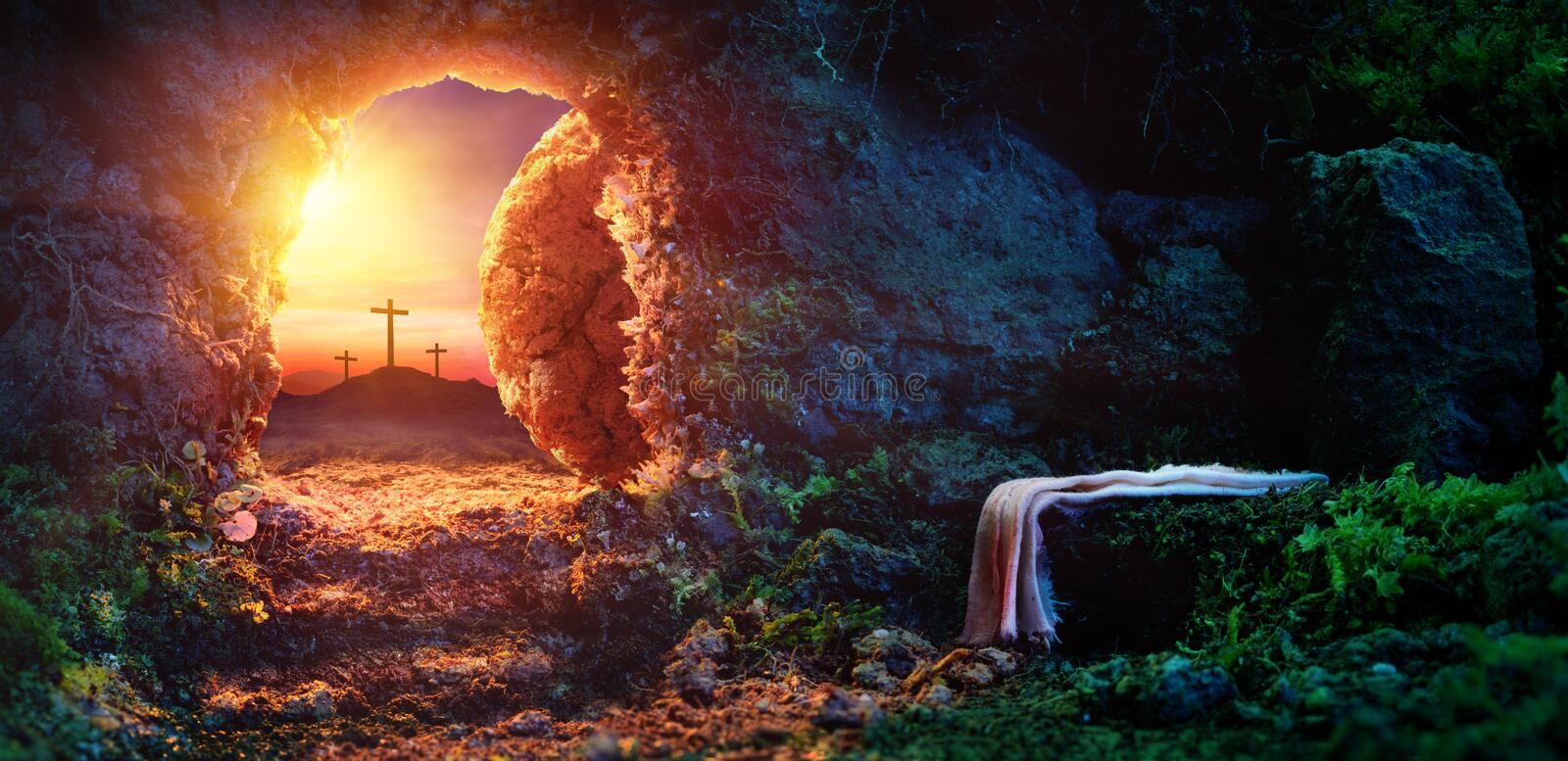 Download Crucifixion At Sunrise - Empty Tomb With Shroud Stock Photo - Image of rolled, sunrise: 111407198