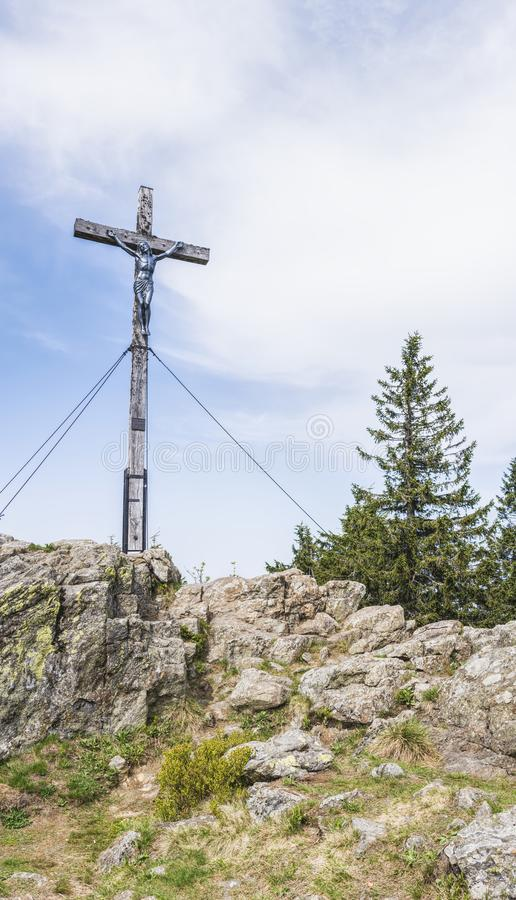 Crucifixion on Top of Stone Hill stock photo