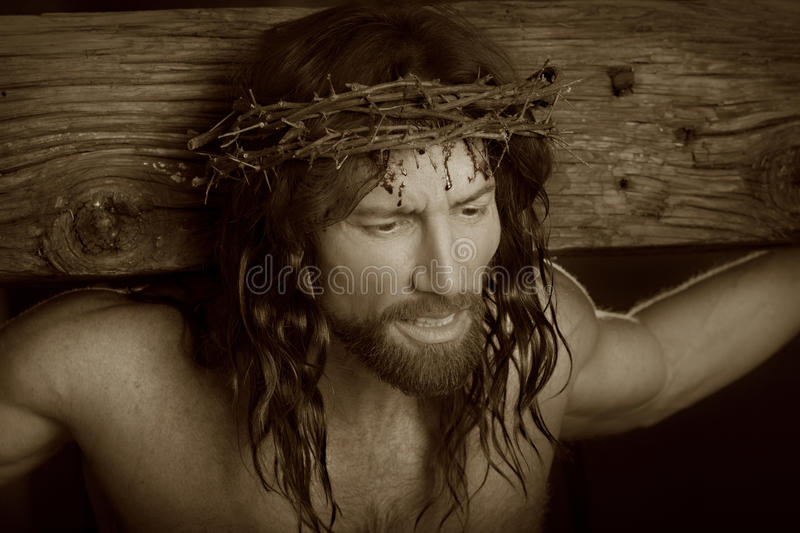 Crucifixtion Portrait in sepia royalty free stock images