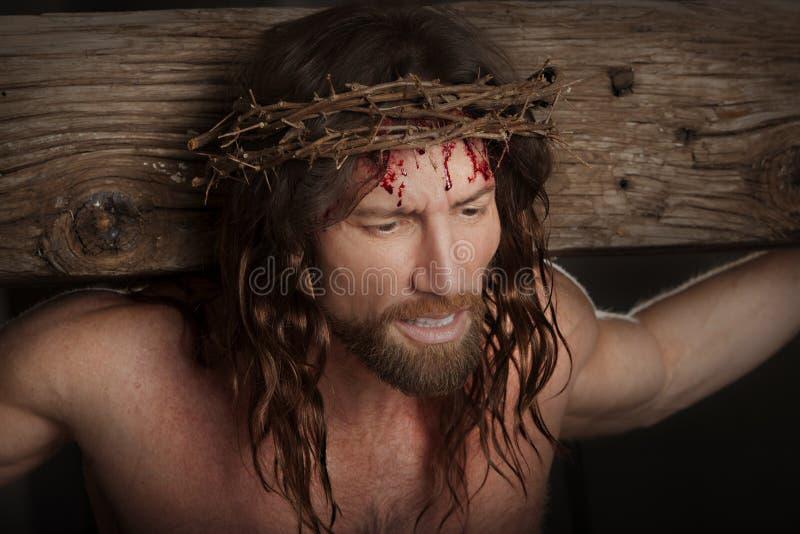 Crucifixtions-Porträt im Sepia stockfotos