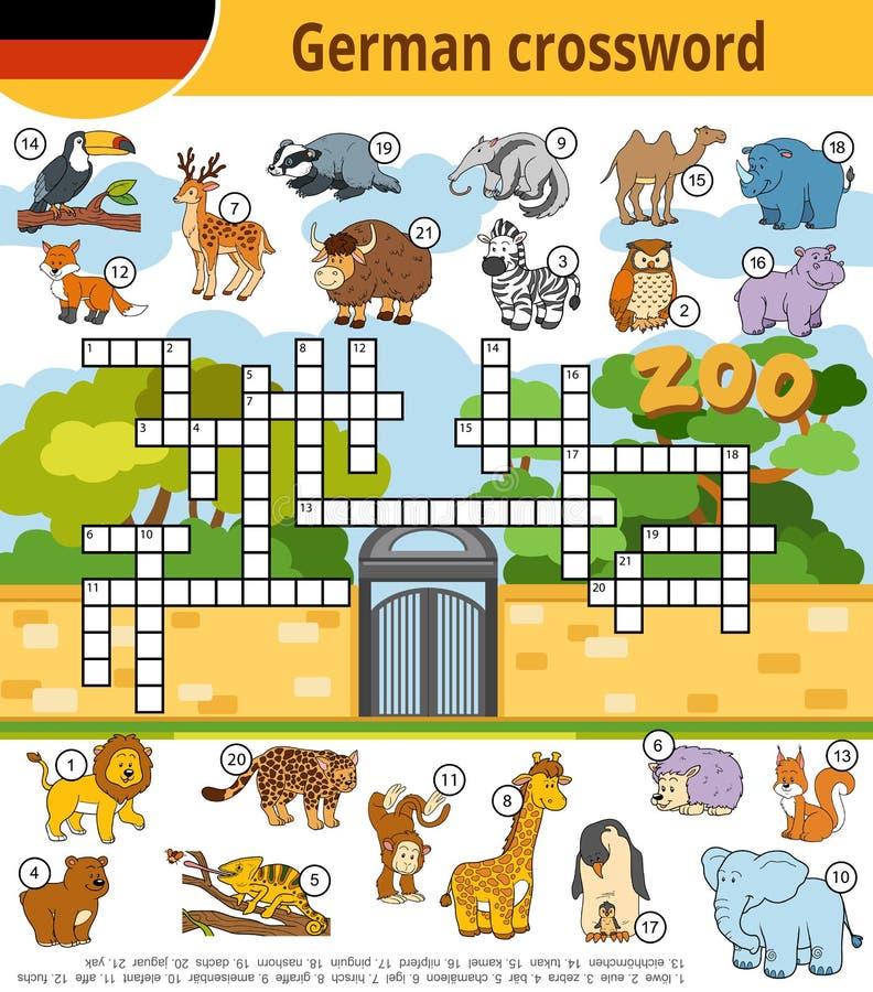Crucigrama alemán, juego de la educación para los niños sobre animales del parque zoológico libre illustration