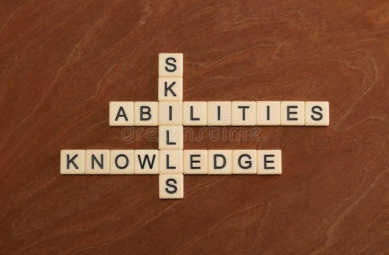 Crucigrama con las habilidades de las palabras, capacidades, conocimiento Learni imagen de archivo
