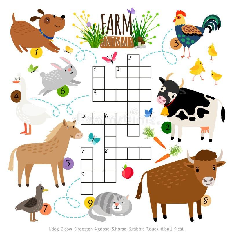 Crucigrama de los animales del campo Los niños que cruzan palabra buscan el juego del rompecabezas con el gato y vaca, perro y ga stock de ilustración