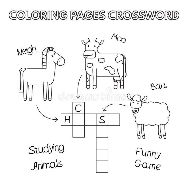Crucigrama del libro de colorear de los animales del campo stock de ilustración