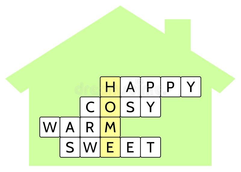 Crucigrama para el hogar y las palabras de la palabra felices, acogedor, caliente, dulce libre illustration
